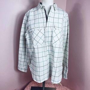 Jcrew flannel popover shirt jacket white plaid szM